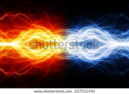 Fire and ice electrical background - stock photo