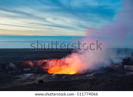 Fire and steam erupting from Kilauea Crater (Pu'u O'o crater), Hawaii Volcanoes National Park, Big Island of Hawaii