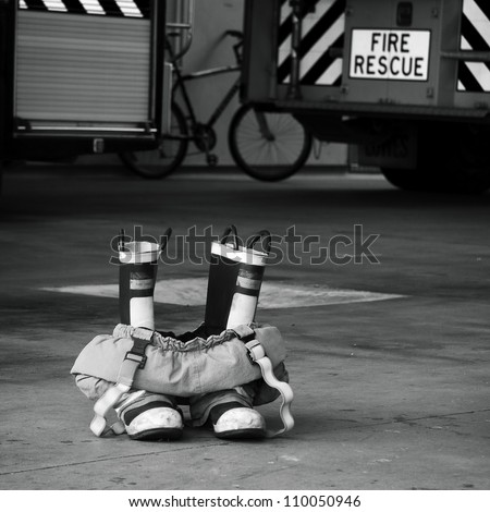 Fire boots, Tauranga Fire Station. New Zealand - stock photo