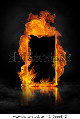 fire border - stock photo