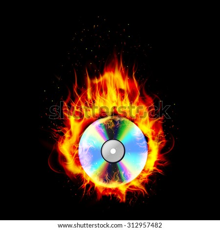 Record Fire Flames Isolated On Black Stock Illustration