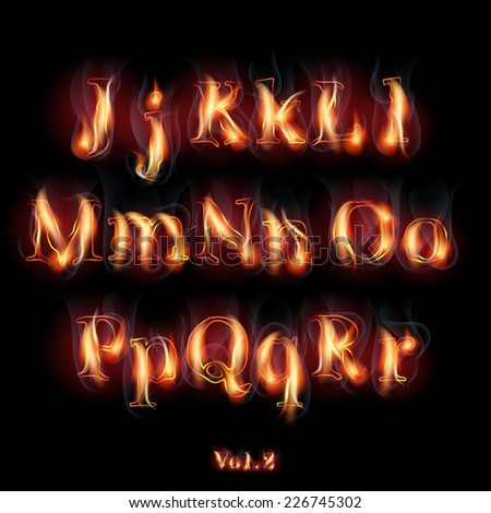 Fire Burning Latin Alphabet Letters. Set Vol.2 J-R - stock photo