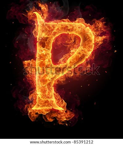"Fire burning letter ""P"""