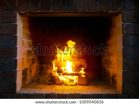 Fire burns in a fireplace. Fire to keep warm.