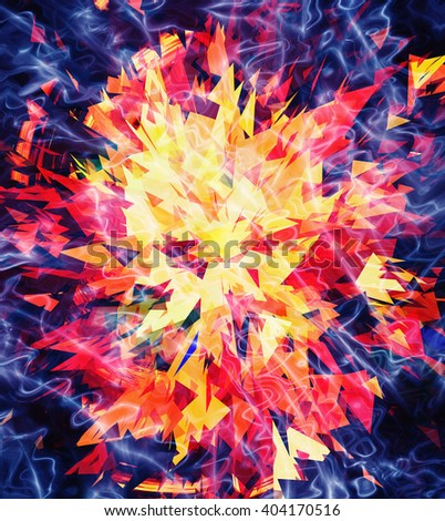 fire burst and broken elements background - stock photo