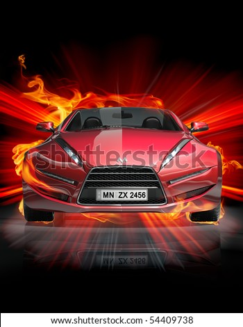 Fire car. My own car design. - stock photo
