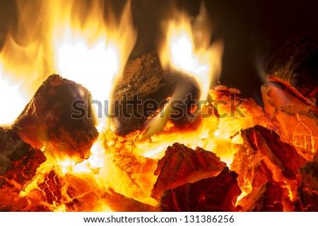Fire coals - stock photo