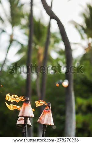 Fire coming out of Hawaiian tiki torches with palm trees in the background - stock photo