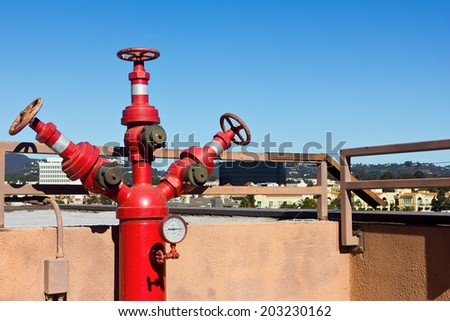 Fire connection rooftop - stock photo