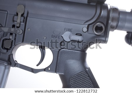Fire controls and lower receiver on a semi automatic AR15 - stock photo