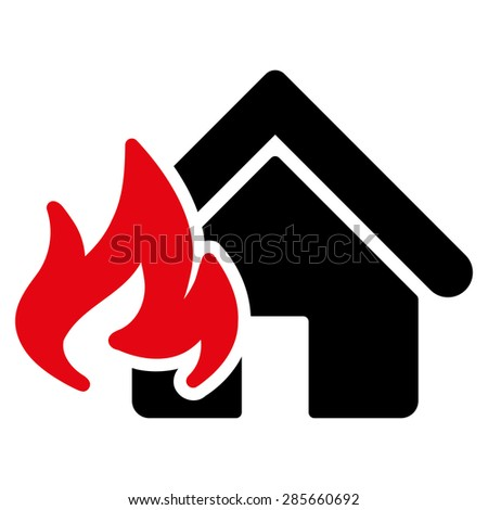Fire Damage icon from Business Bicolor Set. This flat glyph symbol uses intensive red and black colors, rounded angles, and isolated on a white background. - stock photo