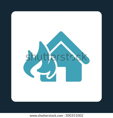 Fire Damage icon. This flat rounded square button uses blue and white colors and isolated on a dark blue background. - stock photo