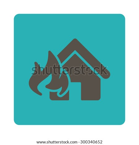 Fire Damage icon. This flat rounded square button uses grey and cyan colors and isolated on a white background. - stock photo