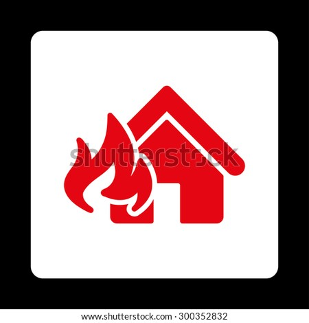 Fire Damage icon. This flat rounded square button uses red and white colors and isolated on a black background. - stock photo