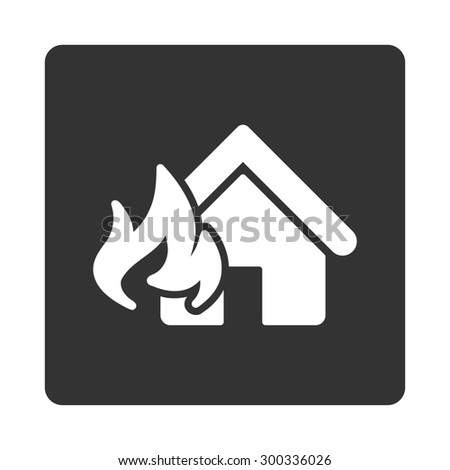 Fire Damage icon. This flat rounded square button uses white and gray colors and isolated on a white background. - stock photo