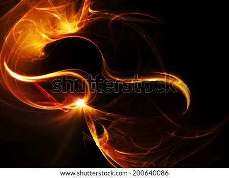 Fire dance.Abstract ardent background. Fractal art - stock photo
