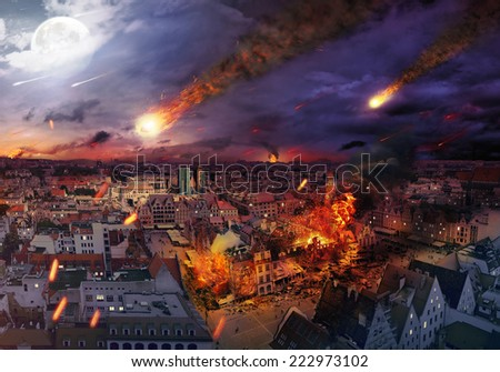 Fire disaster of an european town - stock photo