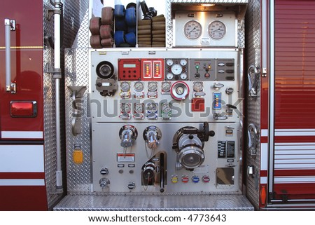 Fire engine main pump controls - stock photo
