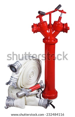 Fire equipment - fire hydrant, fire hoses and fog nozzle on a white background - stock photo