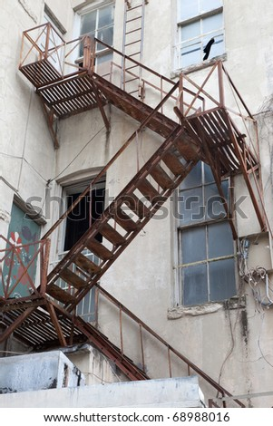 Fire escape in an old building