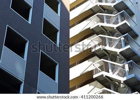 Fire escape of buildings in the city of Kyoto, Japan - stock photo