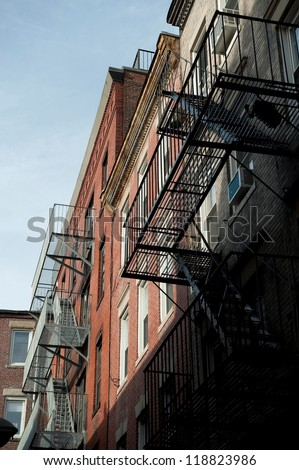 Fire escape on exterior of a building