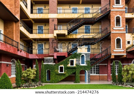 Fire escape on the building - stock photo