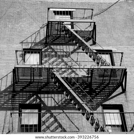 Fire escape stairs in New York City, USA