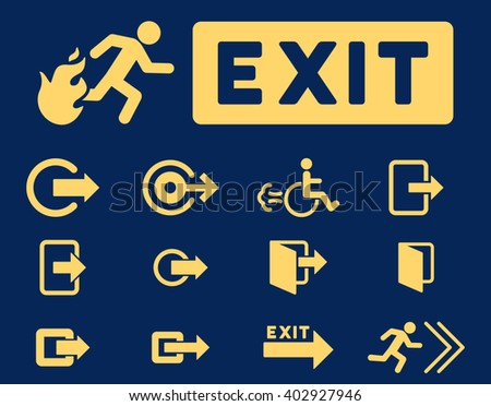 Fire Exit raster icon set. Style is yellow flat symbols isolated on a blue background.