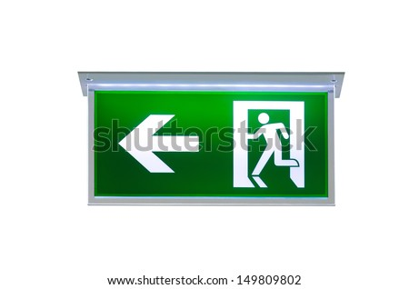 fire exit sign on white background - stock photo