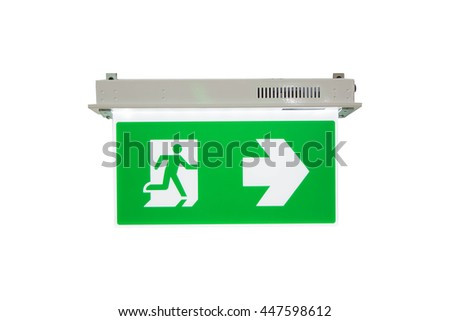 Fire Exit Signs, Green Emergency Exit Sign Showing the Way to Escape  - stock photo