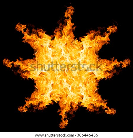 fire explosion isolated on black background, close up - stock photo