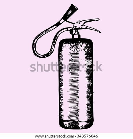 fire extinguisher, doodle style, sketch, raster illustration, - stock photo