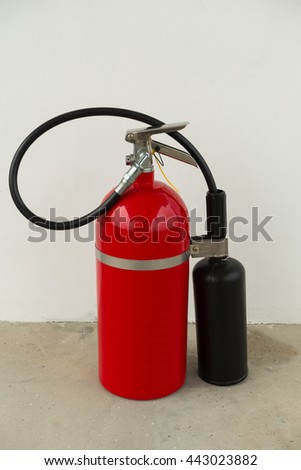Fire extinguisher tools, Fire proof system, Fire protection tool, Fire extinguisher equipment. - stock photo