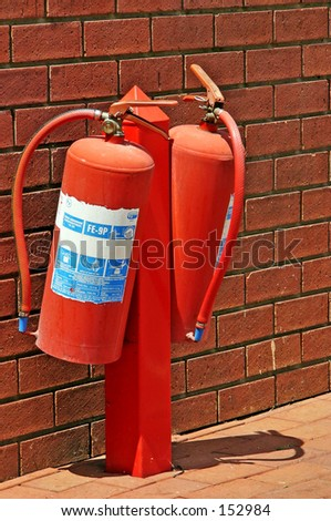 fire extinguishers at wall