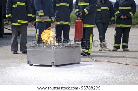Fire extinguishers  training - stock photo