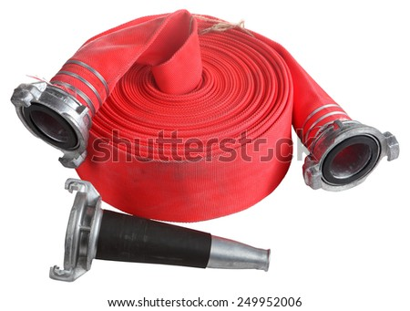 Fire Fighter Industry, Red Fire hose winder roll  reels, fire fighting hose are used for high pressure water spraying, with aluminum nozzle and connecting coupler, isolated object on white background. - stock photo