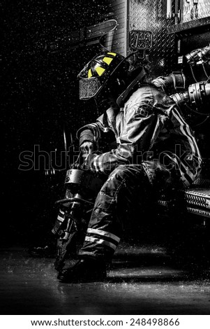 Fire Fighter Rain - stock photo