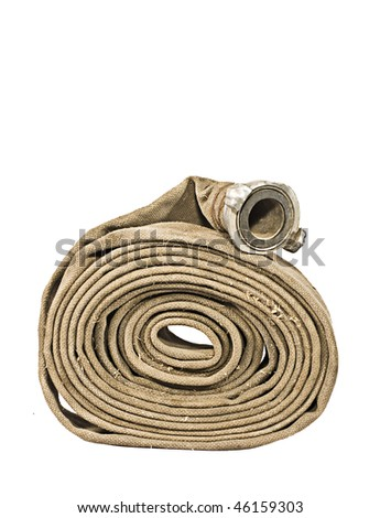 Fire Fighter's Hose Isolated On White Background - stock photo