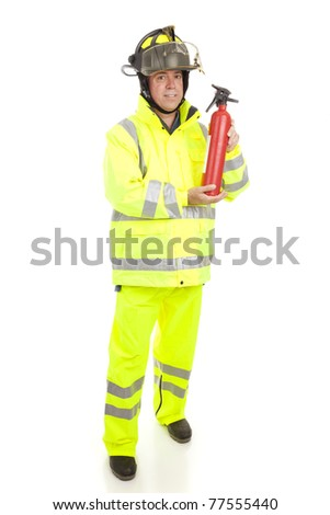 Fire fighter with fire extinguisher.  Full body isolated on white. - stock photo