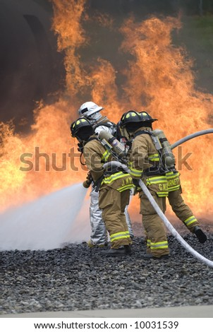 fire fighters fight a blaze