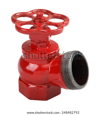 Fire fighting equipment, one isolated on a white background, fire valve made of cast iron, painted in red, oblique fire hydrant valve for indoor use. - stock photo