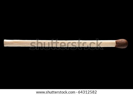 Fire flame heat igniting wood match black isolated - stock photo