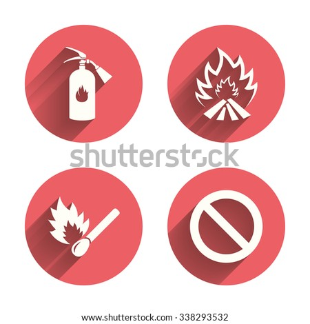 Fire flame icons. Fire extinguisher sign. Prohibition stop symbol. Burning matchstick. Pink circles flat buttons with shadow.  - stock photo
