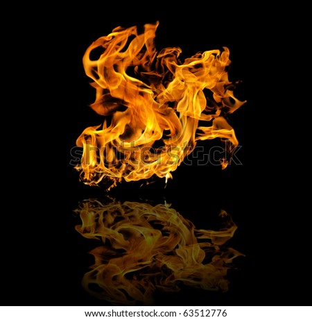 Fire flame with mirror image - stock photo