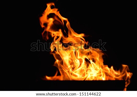 Fire flames  design isoleted on black background - stock photo