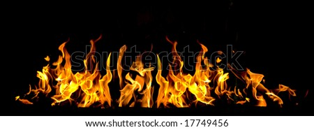 fire flames in black background - stock photo