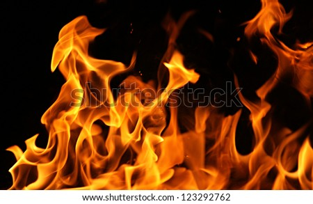 Fire flames isolated on a black background - stock photo
