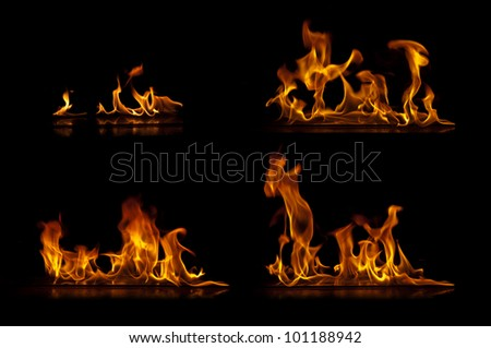 Fire flames isolated on a black background collection - stock photo