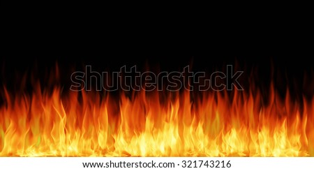 Fire flames isolated on black background. Highly detailed illustration.